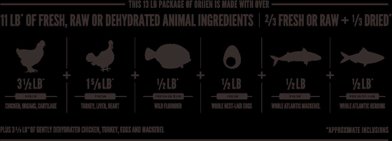 ORIJEN Puppy Meatmath Formula and Dog Food Ingredients