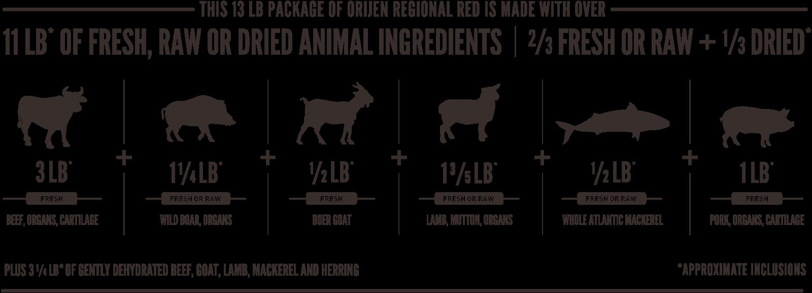ORIJEN Regional Red Meatmath Formula and Dog Food Ingredients
